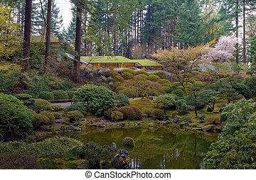 日本語, ポートランド, 庭, 湖