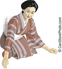 日本語, 伝統的である, 芸者, ベクトル, イラスト