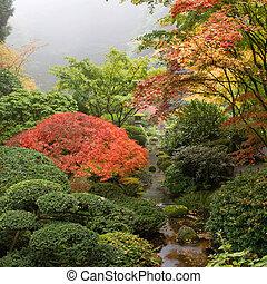 日本語, 入り江, 庭, 秋