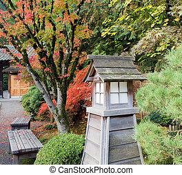 日本語, 公園のベンチ, 庭, 秋