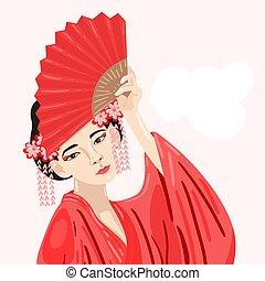 日本語, 女の子, 伝統的である, ファン, ヘアスタイル