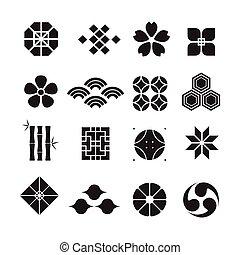 日本語, 装飾, アイコン, セット