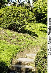 日本語, 階段, 庭, 投石される