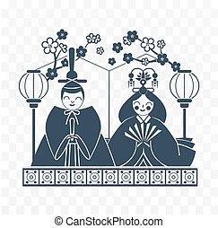 日本黒, アイコン, hinamatsuri, 白