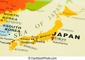 日本, 上に, 地図