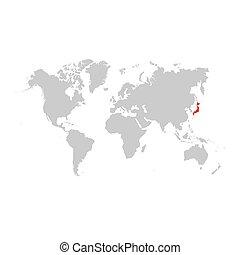 日本, 地図, 世界