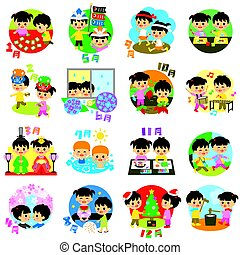 日本, 季節的, 子供, カレンダー, でき事