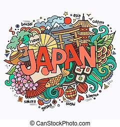 日本, 手, レタリング, そして, doodles, 要素, 背景