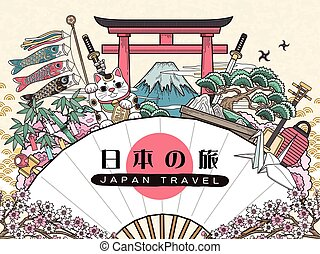 日本, 旅行, 素晴らしい, ポスター