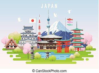 日本, 旅行, infographic., 春
