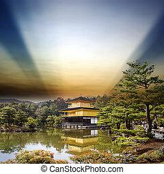 日本, 空, 寺院, 金, すてきである