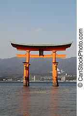 日本, itsukushima のshrine, 浮く, 門