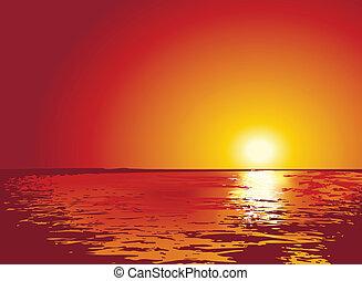 日没, ∥あるいは∥, 日の出, 上に, 海, イラスト