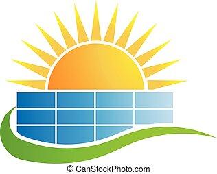 日没, の上, ビジネス, 建物。, ベクトル, ロゴ, デザイン