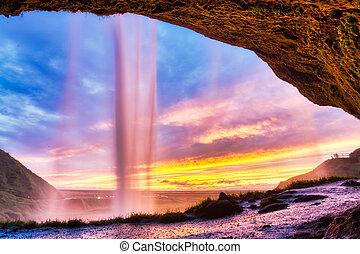 日没, アイスランド, 滝, seljalandsfoss