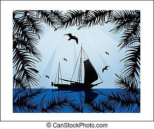 日没, イラスト, の上, 海, ボート