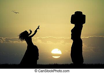 日没, イースター, tahai, moai, 島