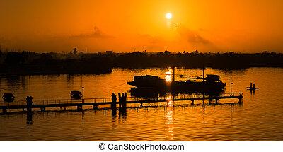 日没, オレンジの空, 突堤, シルエット