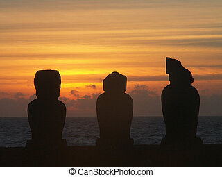 日没, シルエット, moai