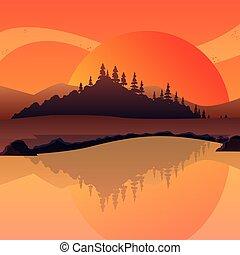 日没, デザイン, 風景