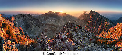 日没, パノラマ, 山, 自然, 秋風景, スロバキア