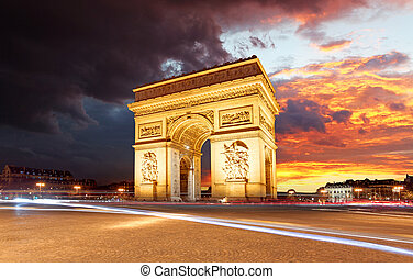 日没, パリ, triomphe, 弧, 都市, de