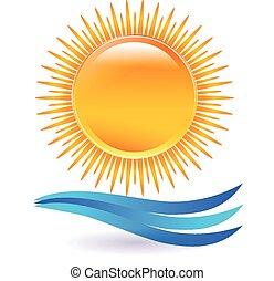 日没, ベクトル, 浜, ロゴ