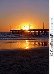 日没, ベニスビーチ, カリフォルニア