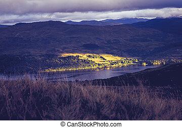 日没, 上に, スコットランド, テイ湖