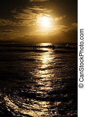 日没, 上に, 浜