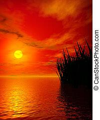日没, 上に, 湖