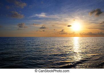 日没, 上に, 熱帯 浜