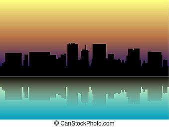 日没, 上に, city., sunset., 都市, シルエット