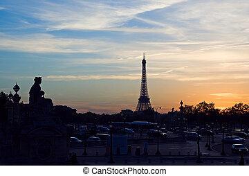 日没, 上に, eiffel タワー