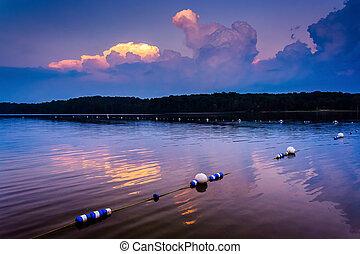 日没, 上に, pinchot, 湖, ∥において∥, gifford, pinchot, 州立 公園,...