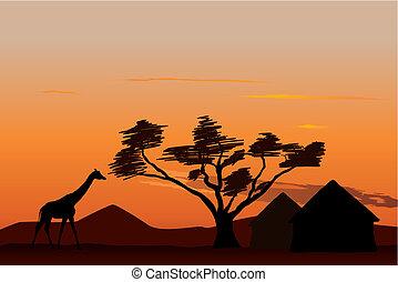 日没, 中に, アフリカ