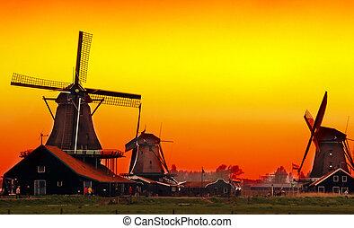 日没, 中に, オランダ