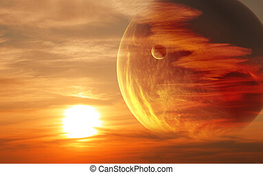 日没, 中に, 外国人, 惑星