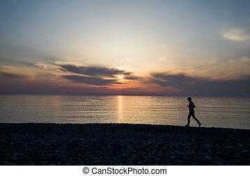 日没, 動くこと, 浜, シルエット, 人