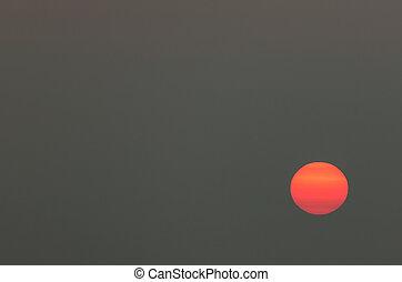日没, 勾配, オレンジの空, 太陽, 黄色, 大きい