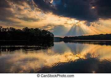 日没, 反映, 中に, pinchot, 湖, ∥において∥, gifford, pinchot, 州立 公園,...
