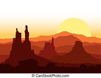 日没, 山。, 岩が多い, ベクトル, illustration.