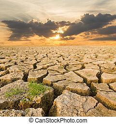 日没, 干ばつ, 夕方, 土地, 下に