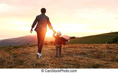日没, 幸せな家族, 自然, 息子, 父