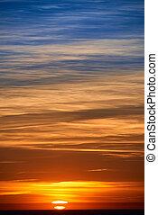 日没, 後で, 燃焼, 空, 夕方, 雲