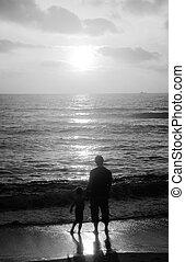 日没, 息子, 父, 海, 歩きなさい
