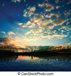 日没, 抽象的, 雲, 背景, 自然