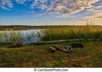 日没, 暖炉, 湖, キャンプ
