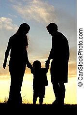 日没, 歩くこと, シルエット, 家族