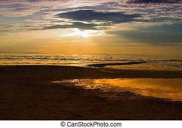 日没, 浜